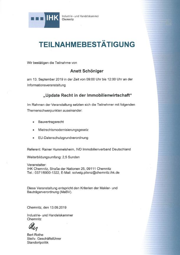 IHK Teilnahmebestätigung 13.09.2019