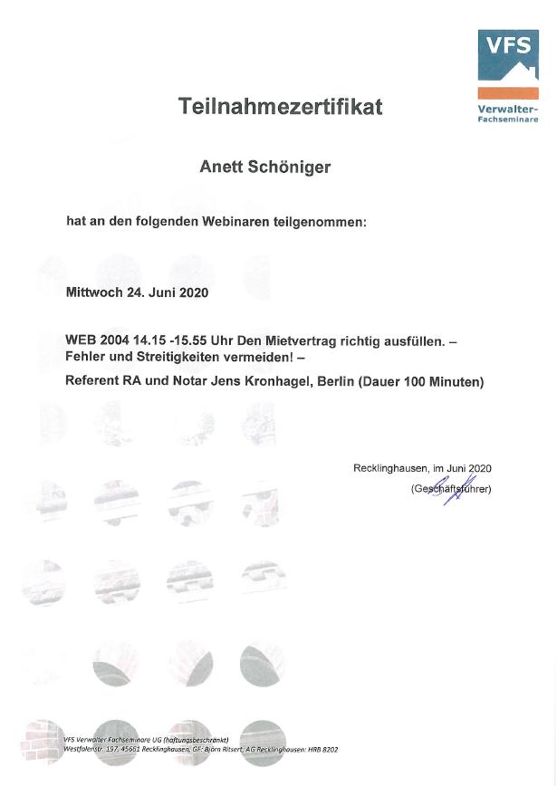 VFS Teilnahmezertifikat Annett Schöniger