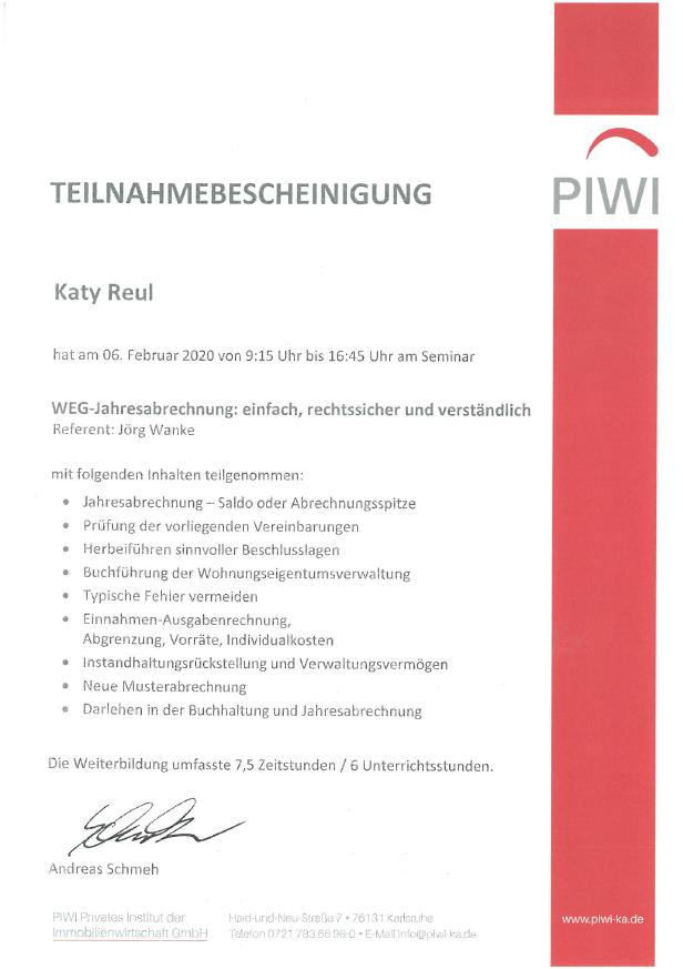 PIWI Teilnahmebescheinigung Katy Reul