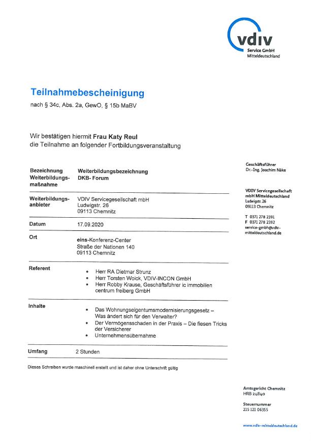 VDIV Teilnahmebestätigung Katy Reul