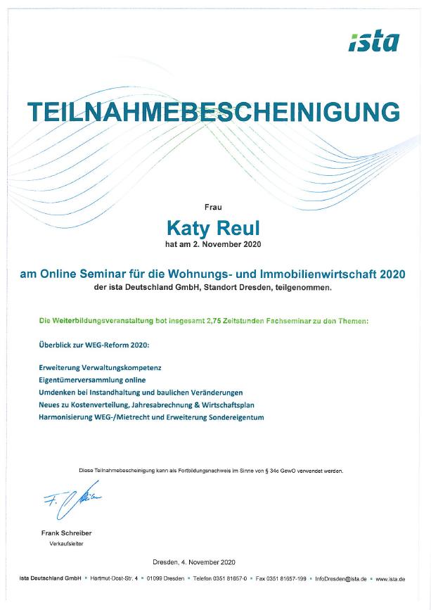 ISTA Teilnahmebestätigung Katy Reul